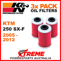 3 PACK K&N KTM 250SX-F 250 SXF 2005-2012 OIL FILTERS OFF ROAD DIRT BIKE KN 655