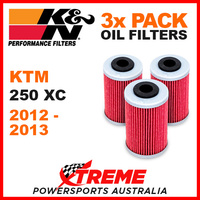 3 PACK K&N KTM 250XC 250 XC 2012-2013 OIL FILTERS OFF ROAD DIRT BIKE KN 655