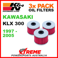 3 PACK K&N MX OIL FILTERS KAWASAKI KLX300 KLX 300 1997-2005 TRAIL BIKE KN 112
