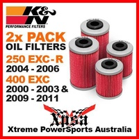 2 PACK K&N OIL FILTER KTM 250 EXC-R 2004-2006 & 400 EXC 2000-2003 & 2009-2011