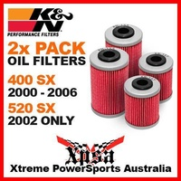 2 PACK K&N OIL FILTER KTM 400 SX 400SX 2000-2006 520 520SX 2002 DUAL FILTERS MX