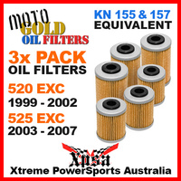 3 PACK MOTO GOLD OIL FILTERS KTM 520 EXC 99-2002 525 EXC 03-2007 MX KN 157 155