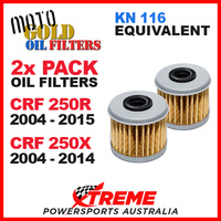 2 PACK MOTO GOLD OIL FILTERS CRF 250R CRF250R 04-15 CRF250X 250X 04-14 OF4 KN116