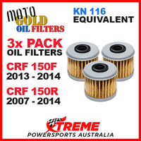 3 PACK MOTO GOLD OIL FILTERS CRF 150F CRF150F 13-14 CRF150R 150R 07-14 OF4 KN116