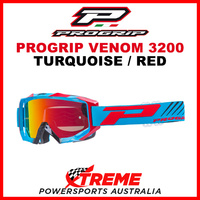 Adult ProGrip Venom 3200 Motocross Goggles Turquoise Red No Fog Lens 3200TRF
