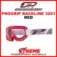 Adult ProGrip Raceline 3201 Motocross Goggles Red Clear No Fog Lens 3201R