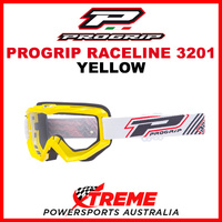 Adult ProGrip Raceline 3201 Motocross Goggles Yellow Clear No Fog Lens 3201Y
