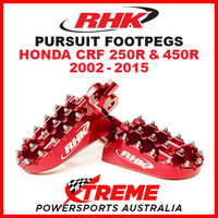 RHK MX RED ALLOY PURSUIT FOOTPEGS HONDA CRF250R CRF450R CRF 250R 450R 02-2015