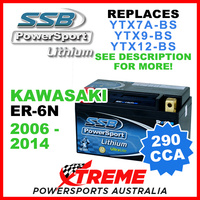 SSB 12V 290 CCA Kawasaki ER-6N 2006-2014 LFP14H-BS Lithium Battery