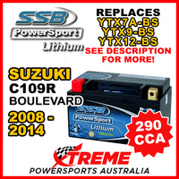 SSB 12V 290 CCA For Suzuki C109R Boulevard 2008-2014 LFP14H-BS Lithium Battery