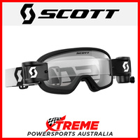 Scott Black/White Buzz MX Pro WFS Goggles With Clear Lens Motocross Dirt Bike