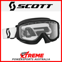 Scott Black/White Split OTG Enduro Goggles With Clear Lens Motocross Dirt Bike
