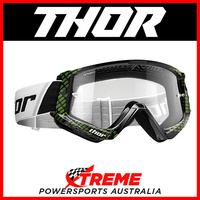 Thor Combat Cap Black/Lime Goggles With Clear Lens MX Eyewear Motocross Bike Pro