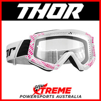 Thor Combat Cap Pink/White Goggles With Clear Lens MX Eyewear Motocross Bike Pro