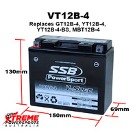SSB 12V 260CCA 10AH VT12B-4 Ducati 1000 Supersport 2003-2006 AGM Battery