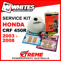 Honda CRF450R 2003-2008 Air & Oil Filter +Filter Oil +F/R Brake Pads Service Kit