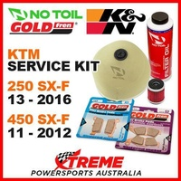 KTM 250SX-F 13-16 450 SX-F 11-12 Air Filter +Oil, F/R Brake Pads Service Kit