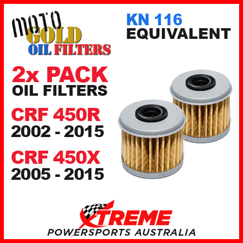 2 PACK MOTO GOLD OIL FILTERS HONDA CRF 450R 02-2015 CRF 450X 05-2015 OF4 KN 116