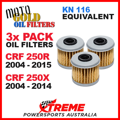 3 Pack Oil Filters for Honda CRF250R 2004-2020 CRF250X 04-17 Replaces KN-116